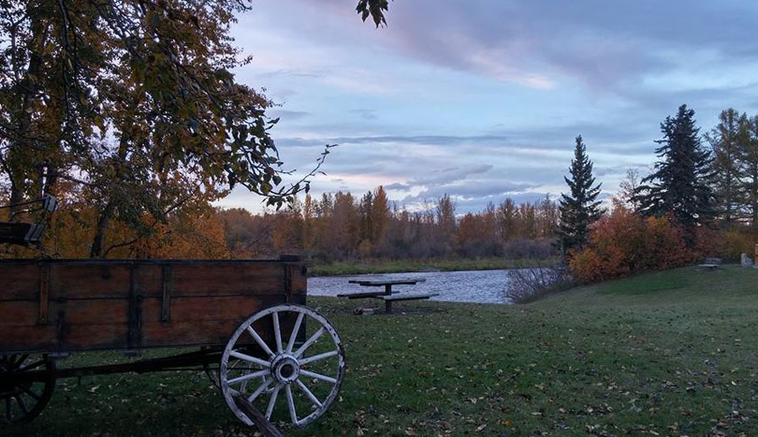 A view of the historical site of Fort Normandeau with an antique wood wagon surrounded by green trees and red and orange foliage.