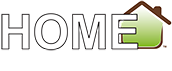 Small white, green and brown colored logo for HomeSuites by d3h.