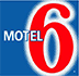 Small red white and blue company logo of Motel 6.