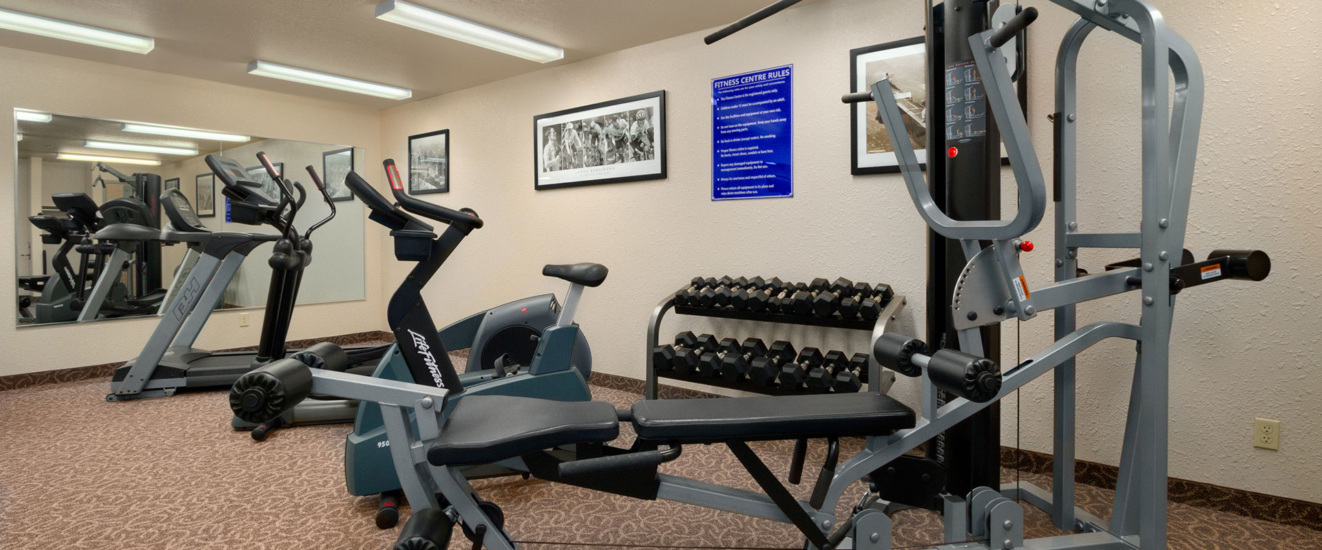 The fitness centre at Days Inn Red Deer, Alberta features several pieces of modern exercise equipment, weights and a large mirror in the area.
