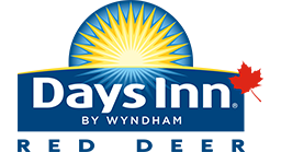 Small square shaped corporate logo of Days Inn Red Deer in blue, white and yellow coloring with an added red maple leaf.